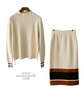 bijou pleats wool knit set[니트AQ460] 2color_free size안나앤모드